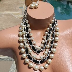 New Boho Pearl Statement Necklace Set Multi Strand